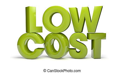 low cost - render of the text low cost