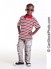 Cool dude - Little boy dressed in stripes and denim for a...