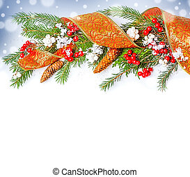 Christmas Decorations border - ribbon, berry, con on fir...