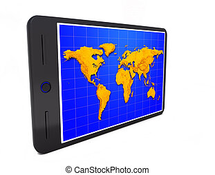 Tablet pc wiht world map on the white