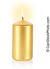 Golden candle on white - Golden candle lit on white,...