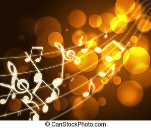 burning musical symbols on a dark background