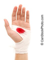 Bloody gauze - Hand of a man with bloody gauze on it