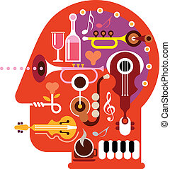 Music Head - Abstract music head - isolated vector...