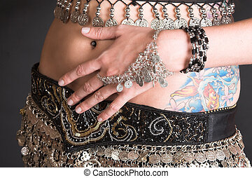 Belly Dancer Body - Belly Dancer with coin decorated costume...