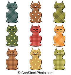 nice scrapbook cats on white background vector