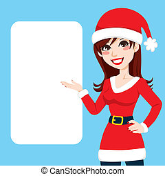 Santa Claus Woman - Beautiful burgundy haired woman in Santa...