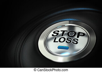 stop loss button with blue led over black background,...