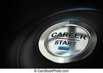 metal push button where it's written career start over a black background with blur effect