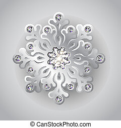 Holiday Silver Christmas Background with Jewelry Snowflake