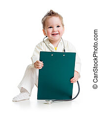 kid or child playing doctor with stethoscope and medical...
