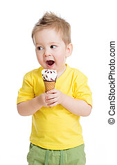 Child or kid eating ice cream isolated on white