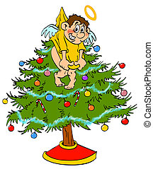 Christmas Tree Topper Angel - Hand drawn cartoon angel...