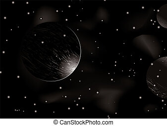 Space eclipse - Space scene with light creeping around a...
