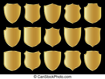 shield design set - golden shield design set with various...