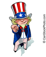 Uncle Sam 'I Want You' - Clean-cut, overview cartoon...