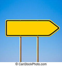 Blank yellow road sign, direction pointer to right against...