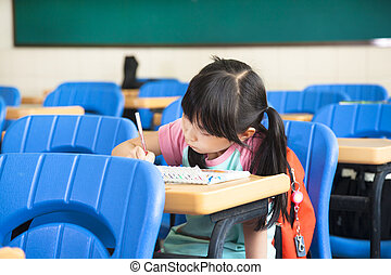school girl study alone in the classroom