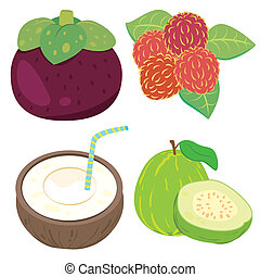 cute fruit collection03 - four cute fruits with mangosteen,...