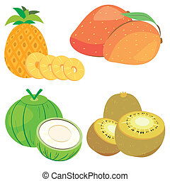cute fruit collection06 - four cute fruits with kiwi,...