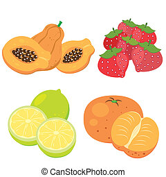 cute fruit collection07 - four cute fruits with papaya,...