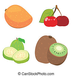 cute fruit collection08 - four cute fruits with mango, red...