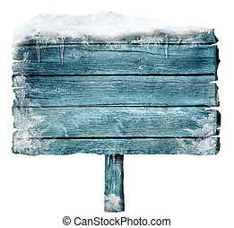 Wooden sign in winter with copyspace. Frozen wood sign with...