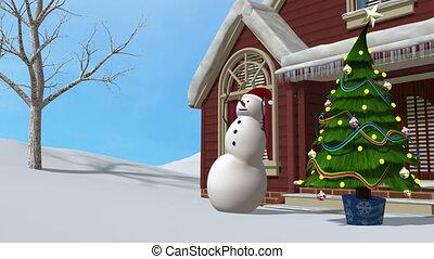 snowman outside home