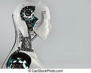 robot android men isolated