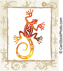 Color lizard in a frame