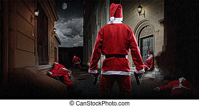 Santa with gun in the alley - Santa Clause showdown in the...
