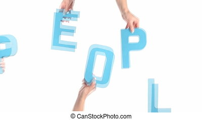 Female hands holding PEOPLE - Cardboard cutout with the word...