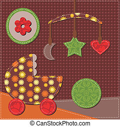 baby room scrapbook style vector illustration