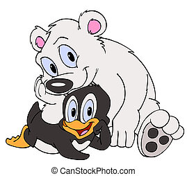 Penguin and Polar Bear Friends - Hand drawn cartoon bird and...