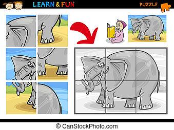 Cartoon elephant puzzle game