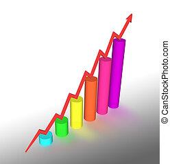 3d bar graph with arrow