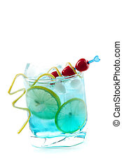 Blue alcohol cocktail with lemon slices and maraschino -...