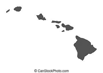 Map of Hawaii - USA - nonshaded