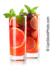 Cocktail collection: Refreshing fruit sangria (punch)...
