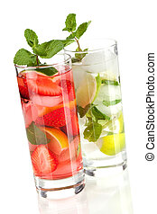 Cocktail collection: Strawberry and classic mojito isolated...