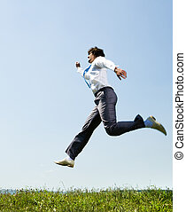 Movement - Image of hastening businessman running to...