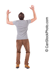 Back view of shocked  man in shirt .   upset young guy in jeans and shirt. Rear view people collection.  backside view of person.  Isolated over white background.