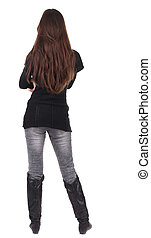 back view of standing young beautiful woman brunette girl in...