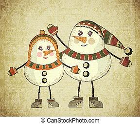 Two snowmen on grunge background