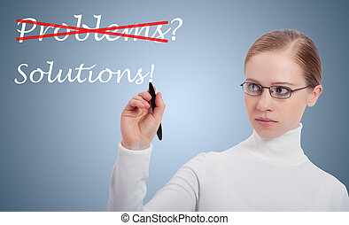 Concept of success business woman, problems, solutions -...