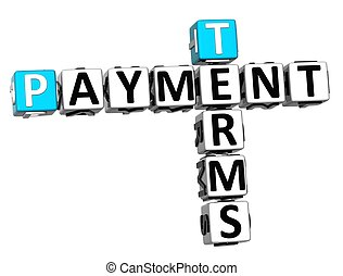 3D Terms Payment Crossword on white background