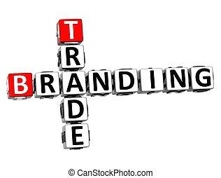 3D Trade Branding Crossword on white background