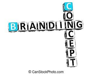 3D Concept Branding Crossword on white background