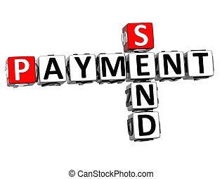 3D Send Payment Crossword on white background