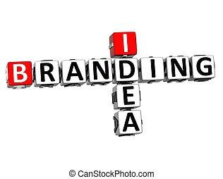 3D Idea Branding Crossword on white background